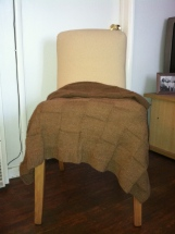 Lap blanket, suitable for lounging or in a wheelchair. Alpaca, brown, checkerboard pattern