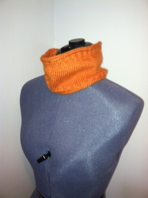 Circular scarf or cowl, small, bamboo-angora blend, orange.