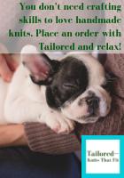 Puppy enjoying knitwear